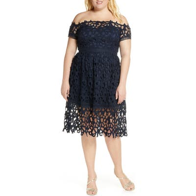 Plus Size Chi Chi London Curve Roma Off-The-Shoulder Cocktail Dress, Blue
