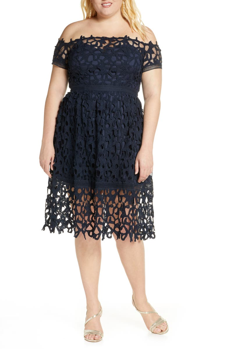 CHI CHI LONDON Curve Roma Off-the-Shoulder Cocktail Dress, Main, color, NAVY