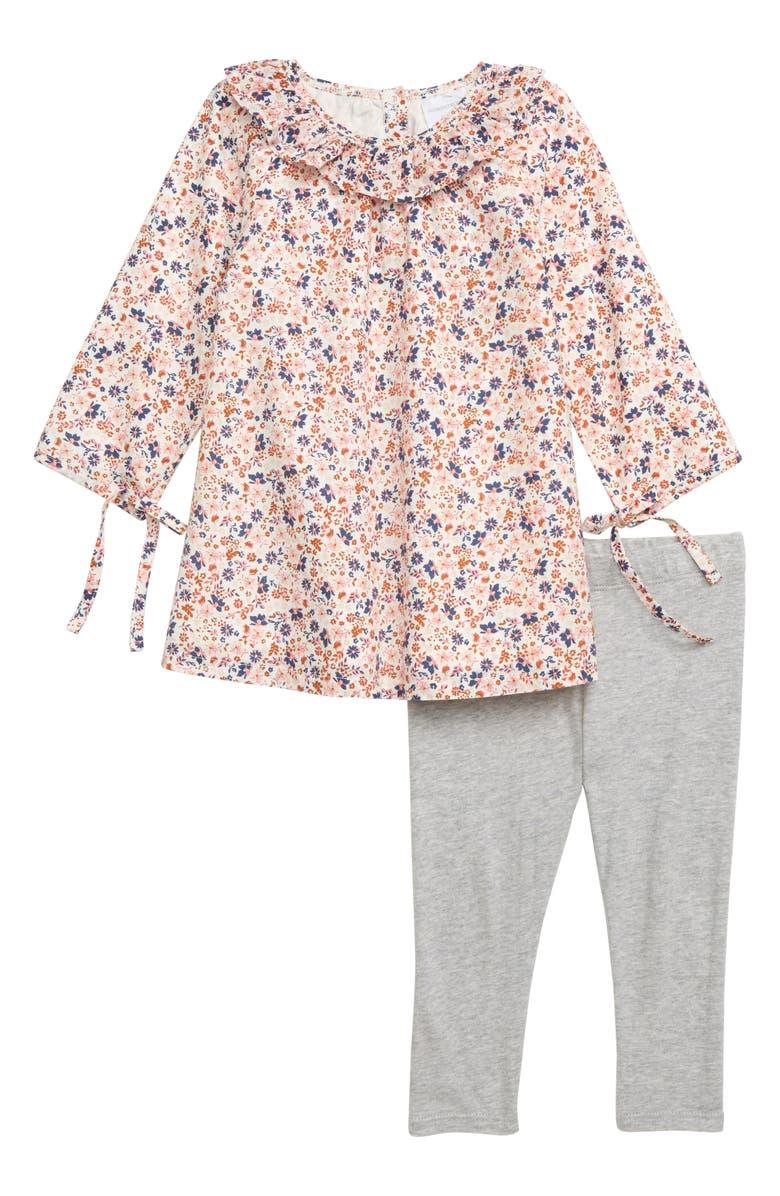 NORDSTROM BABY Ruffle Collar Dress & Leggings Set, Main, color, IVORY EGRET DEVON FLORAL