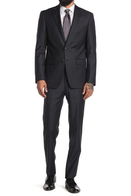 Image of Calvin Klein Charcoal Two Button Notch Lapel Suit
