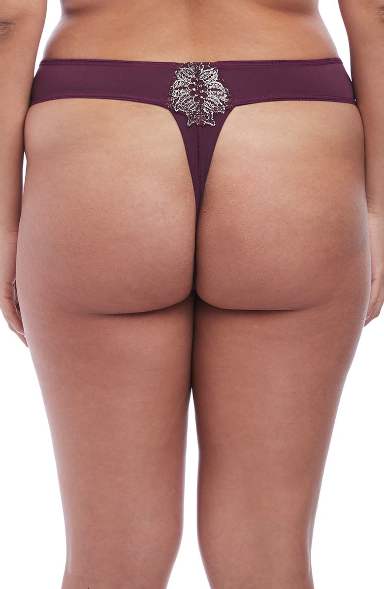 ELOMI Eugenie Lace Thong, Main, color, GILDED BERRY