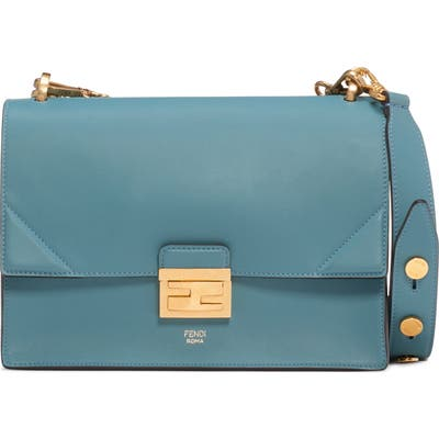 Fendi Kan I Leather Shoulder Bag - Blue