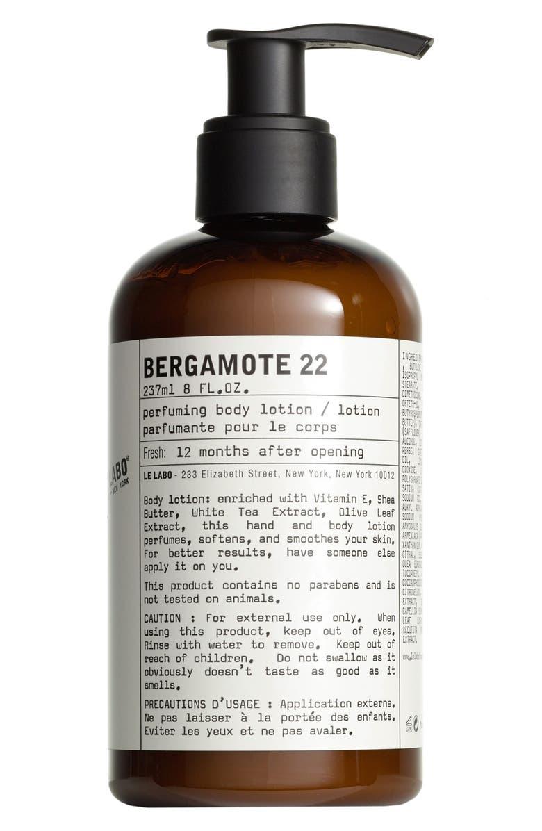 LE LABO 'Bergamote 22' Hand & Body Lotion, Main, color, NO COLOR