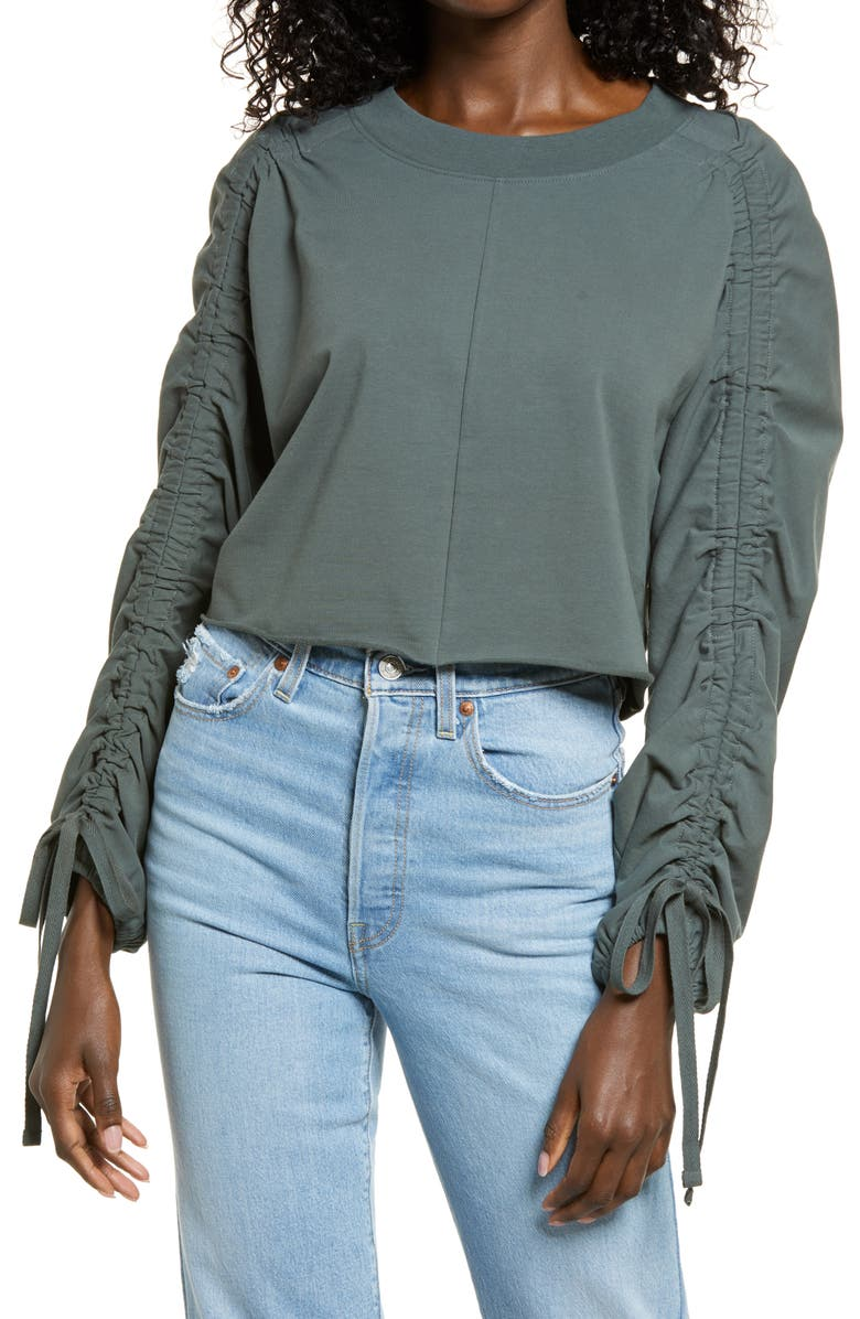 OPEN EDIT Ruched Sleeve Sweatshirt, Main, color, GREEN URBAN