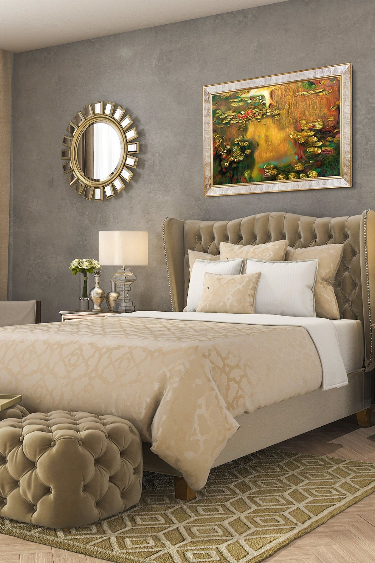 """Image of Overstock Art Water Lilies (Luxury Line), Gold Pearl Frame - 30"""" x 42"""""""