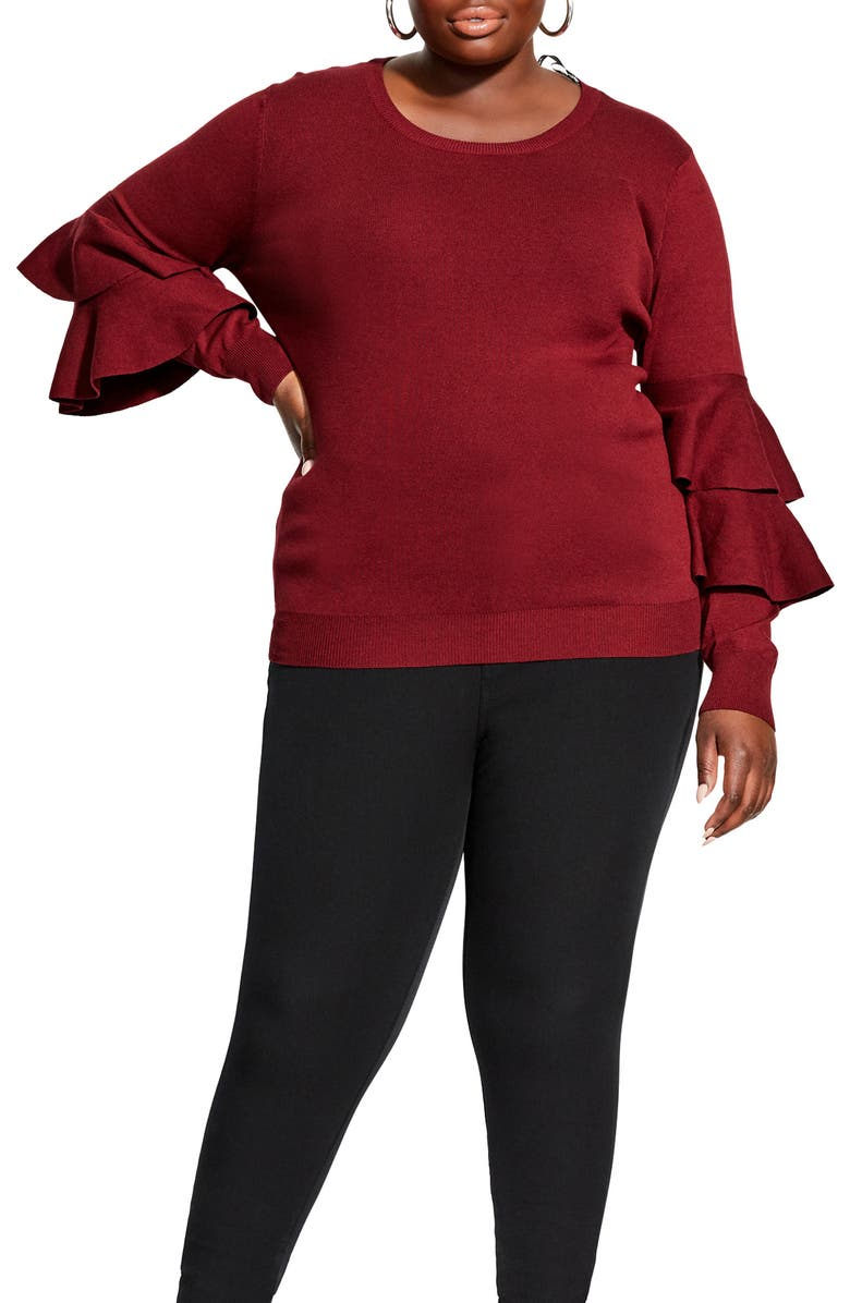 CITY CHIC Flaunt Sleeve Sweater, Main, color, DARK CHERRY