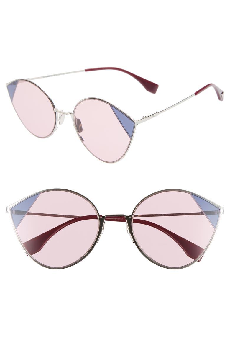 FENDI 60mm Cat Eye Sunglasses, Main, color, SILVER/ PINK