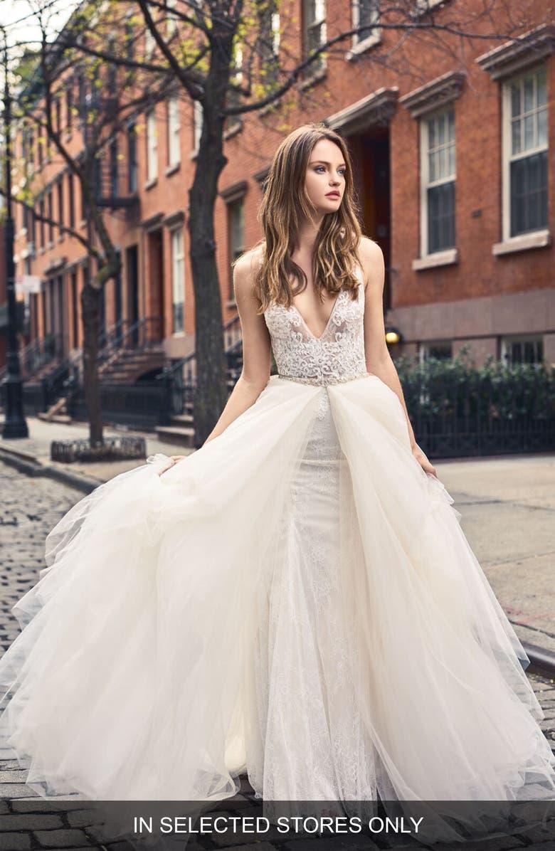 BLISS MONIQUE LHUILLIER Sleeveless Lace Trumpet Gown, Main, color, SILK WHITE/BLUSH