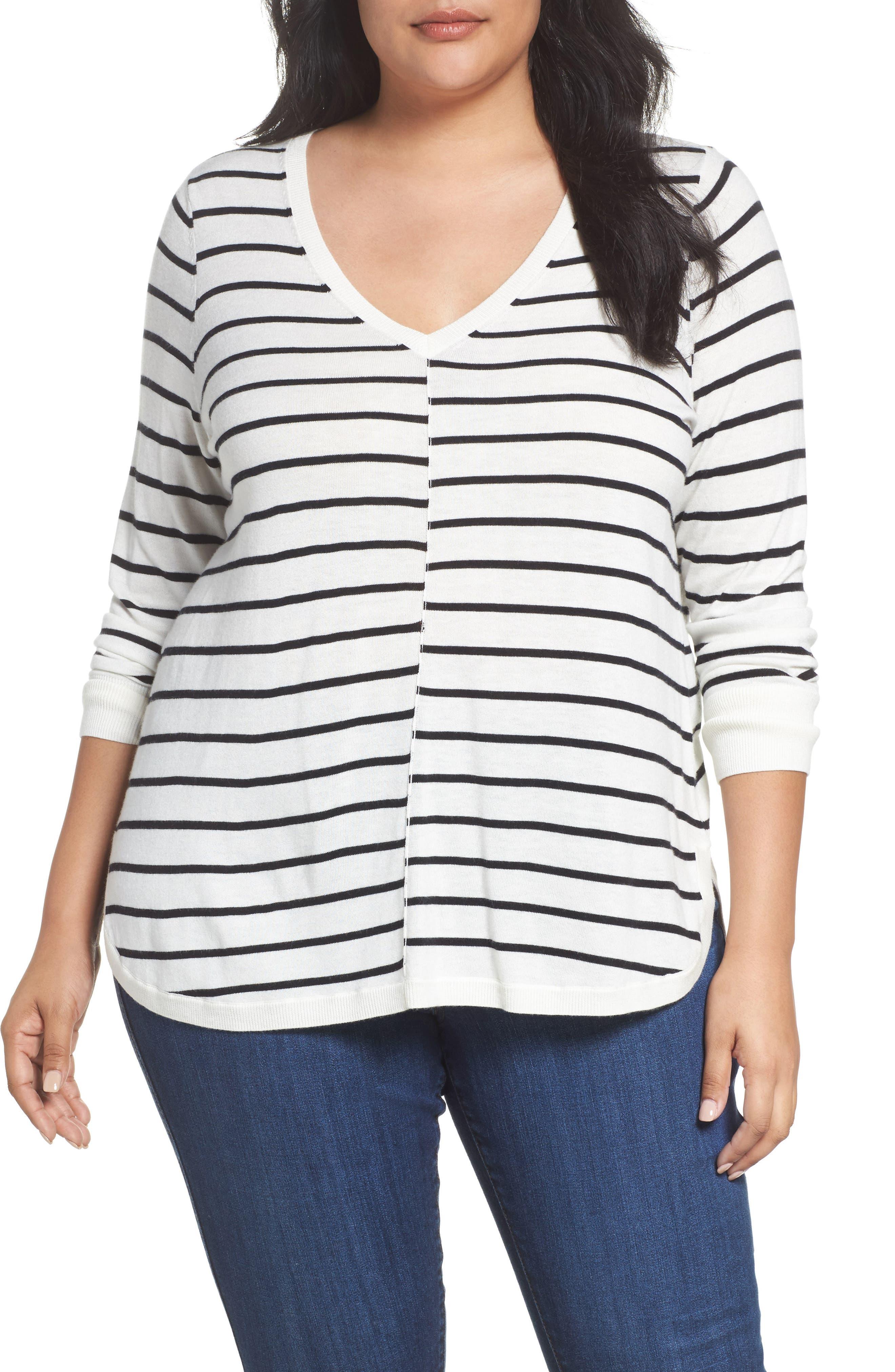 Plus Size Caslon Marled V-Neck Sweater, Ivory