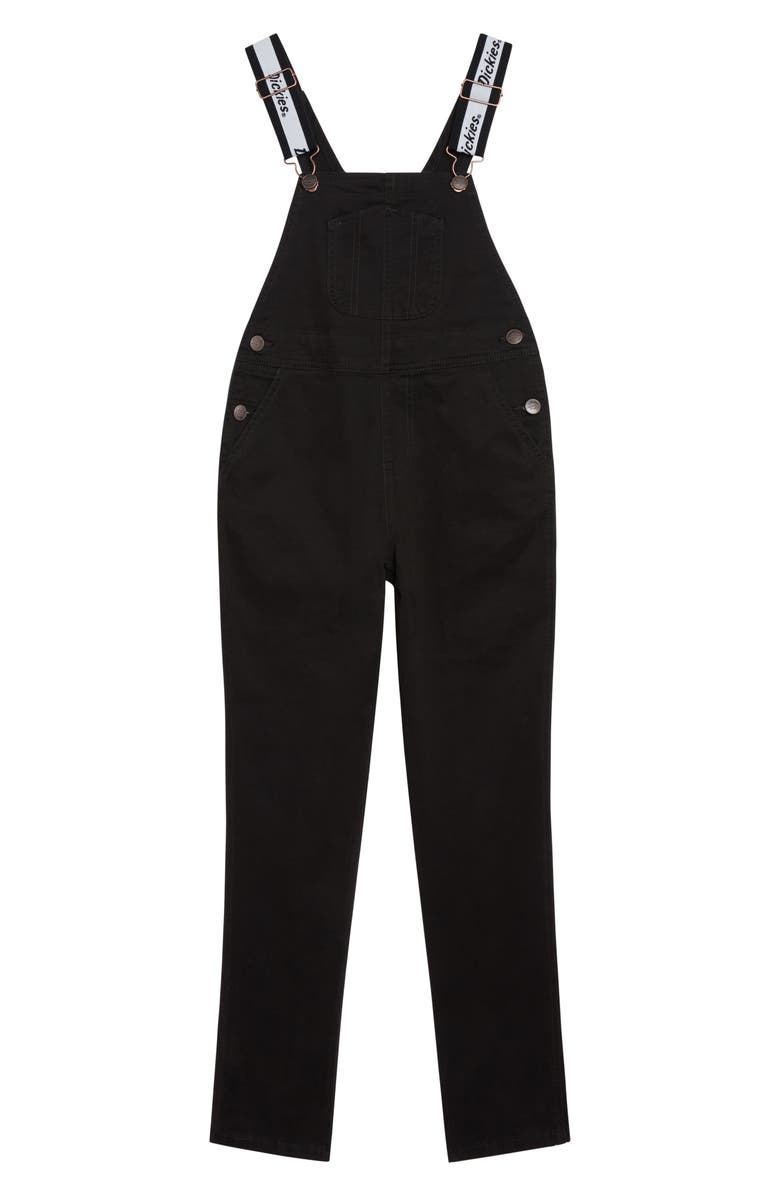 DICKIES Logo Strap Twill Overalls, Main, color, BLACK