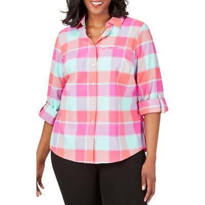 Plus Size Foxcroft Reese Check Upf Wrinkle Free Shirt, None
