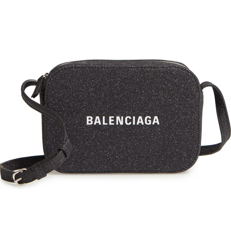 BALENCIAGA Large Everyday Glitter Calfskin Camera Bag, Main, color, BLACK