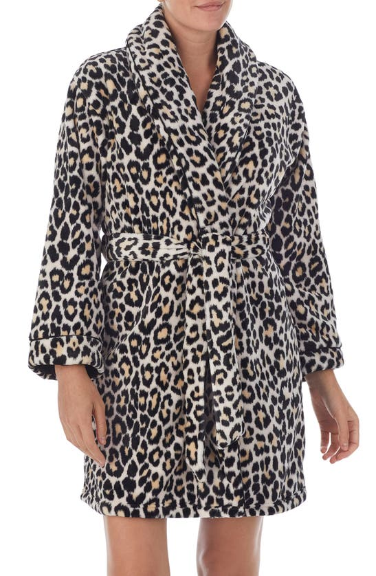Kate Spade Plush Short Robe In Brown Pt