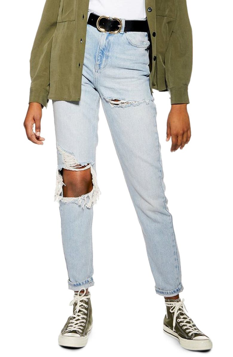 TOPSHOP High Waist Ripped Mom Jeans, Main, color, 400