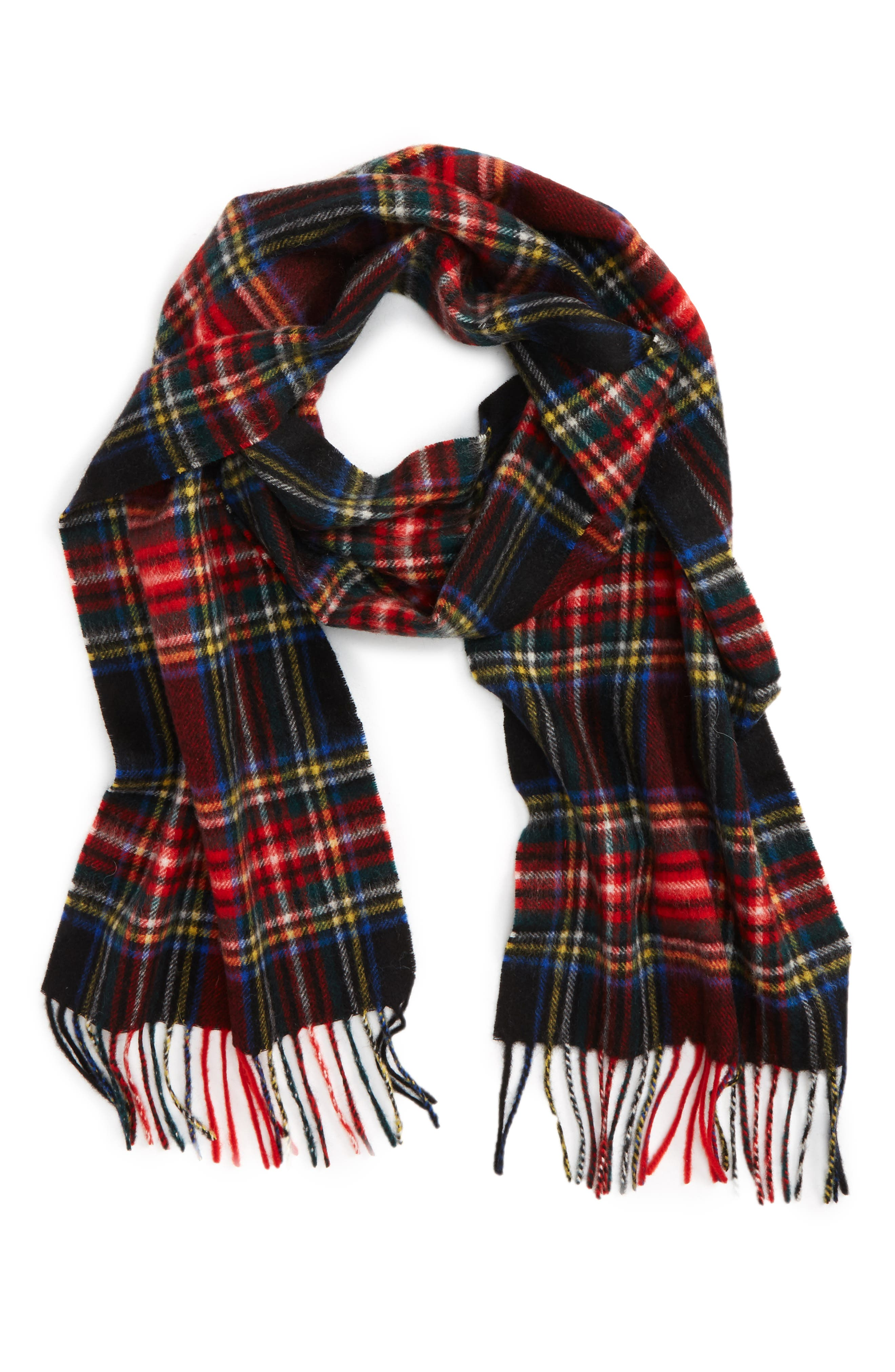 ,                             New Check Lambswool & Cashmere Scarf,                             Main thumbnail 4, color,                             001