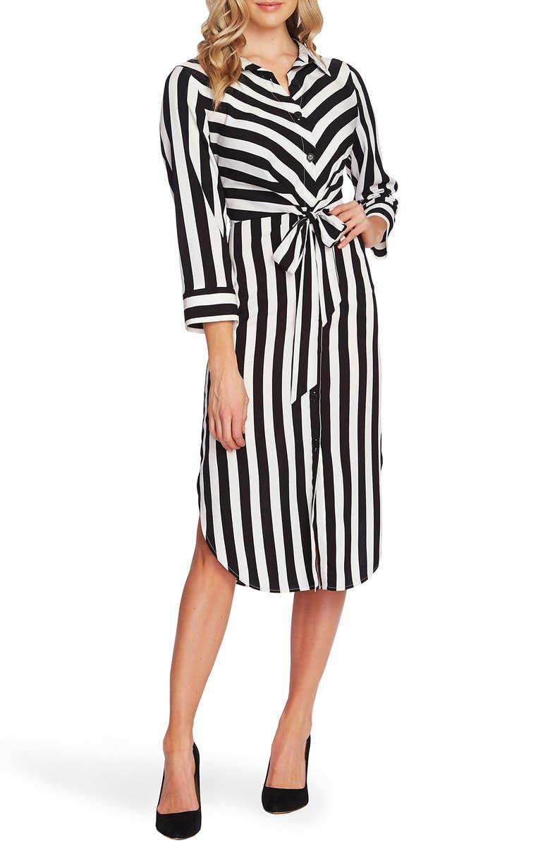 VINCE CAMUTO Bold Stripe Tie Front Bracelet Sleeve Shirtdress, Main, color, RICH BLACK