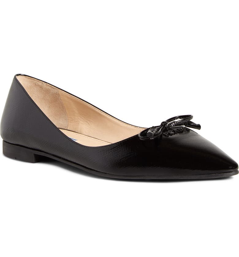 PRADA Bow Logo Pointy Toe Flat, Main, color, BLACK SAFFIANO