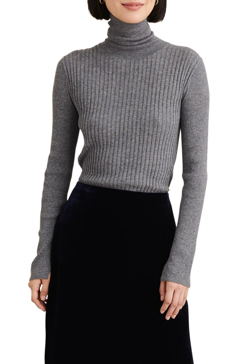 ALEX MILL Ribolata Wool Blend Turtleneck, Main, color, LEAD