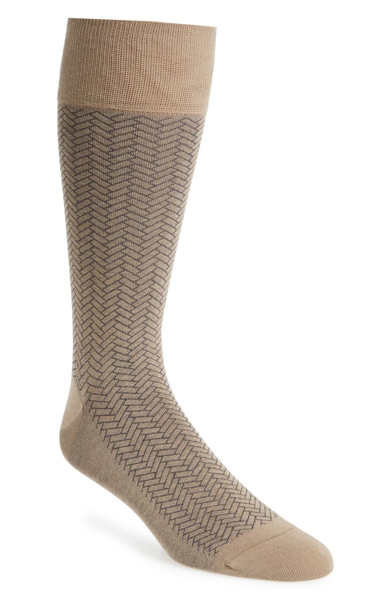 COLE HAAN Geometric Dress Socks, Main, color, DUNE