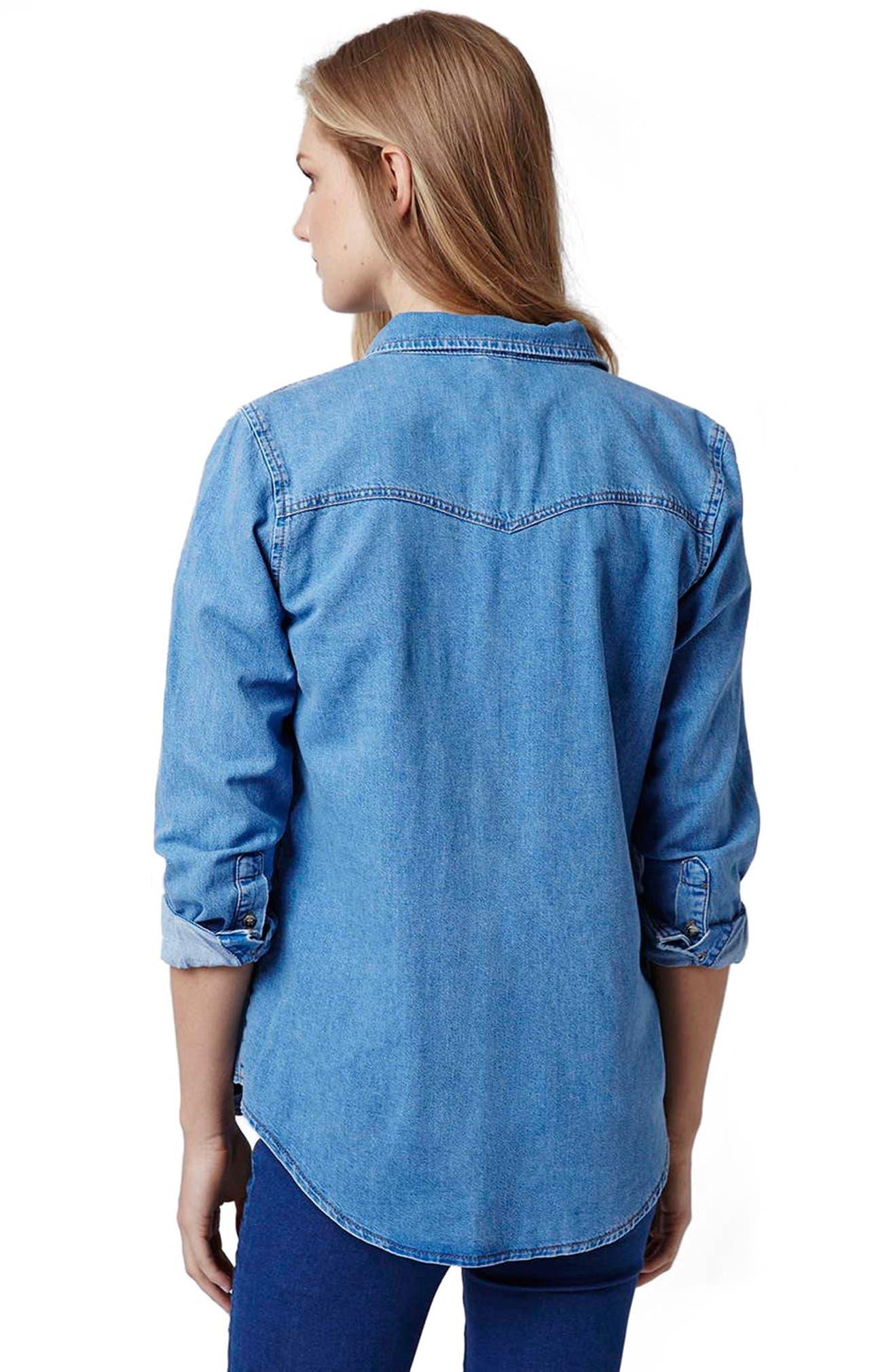 162e842b0d37f Topshop Western Denim Maternity Shirt | Nordstrom
