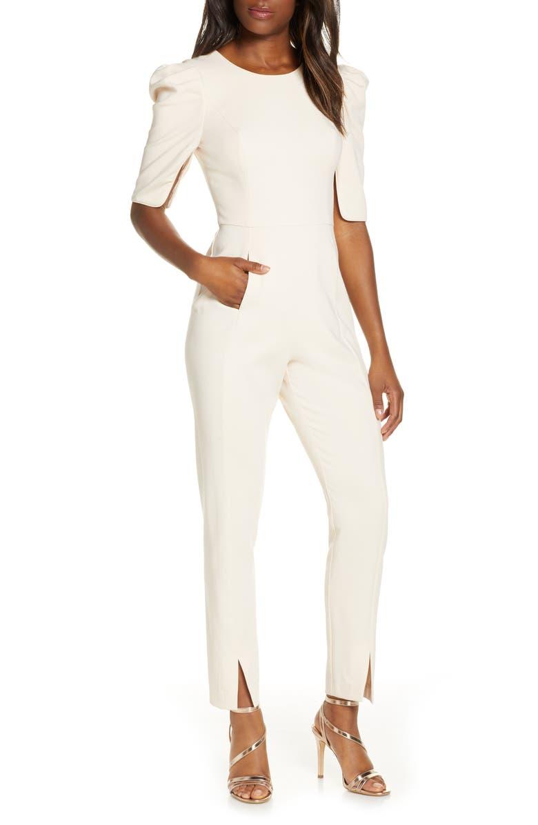 BLACK HALO Russo Puff Shoulder Jumpsuit, Main, color, BUTTERCEAM