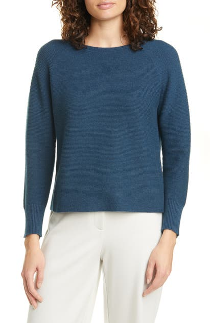EILEEN FISHER BALLET NECK CASHMERE BOX TOP