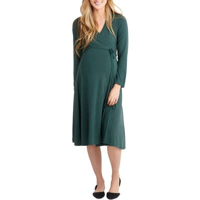 Nom Maternity Tessa Jersey Maternity/nursing Wrap Dress, Green