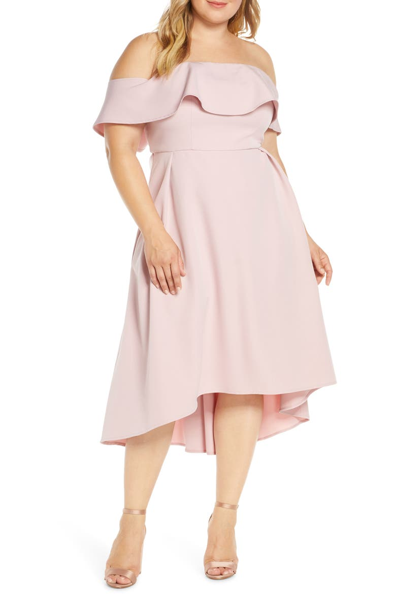 CHI CHI LONDON Curve Wanda Off the Shoulder Cocktail Dress, Main, color, 680