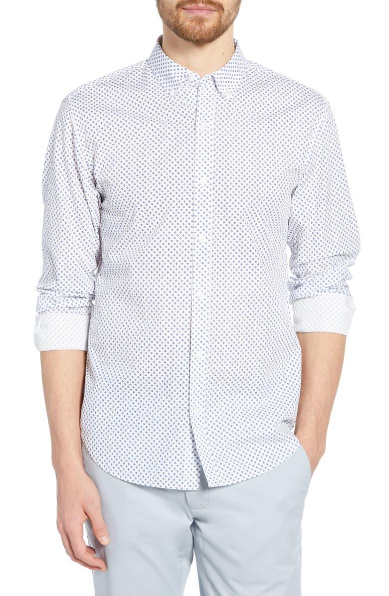 BONOBOS Washed Button Down Slim Fit Print Shirt, Main, color, SCRATCH BLOCK GEO