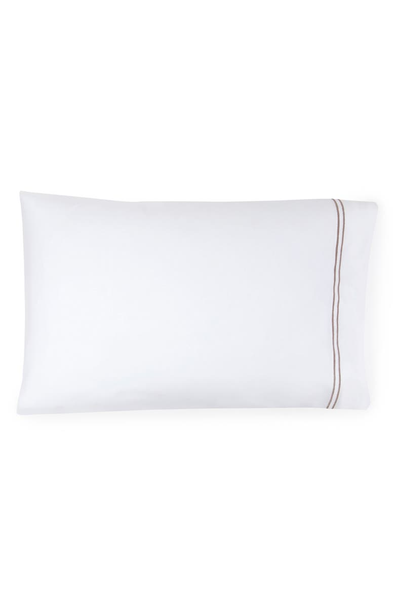 SFERRA Grande Hotel Pillowcase, Main, color, WHITE/ GREY
