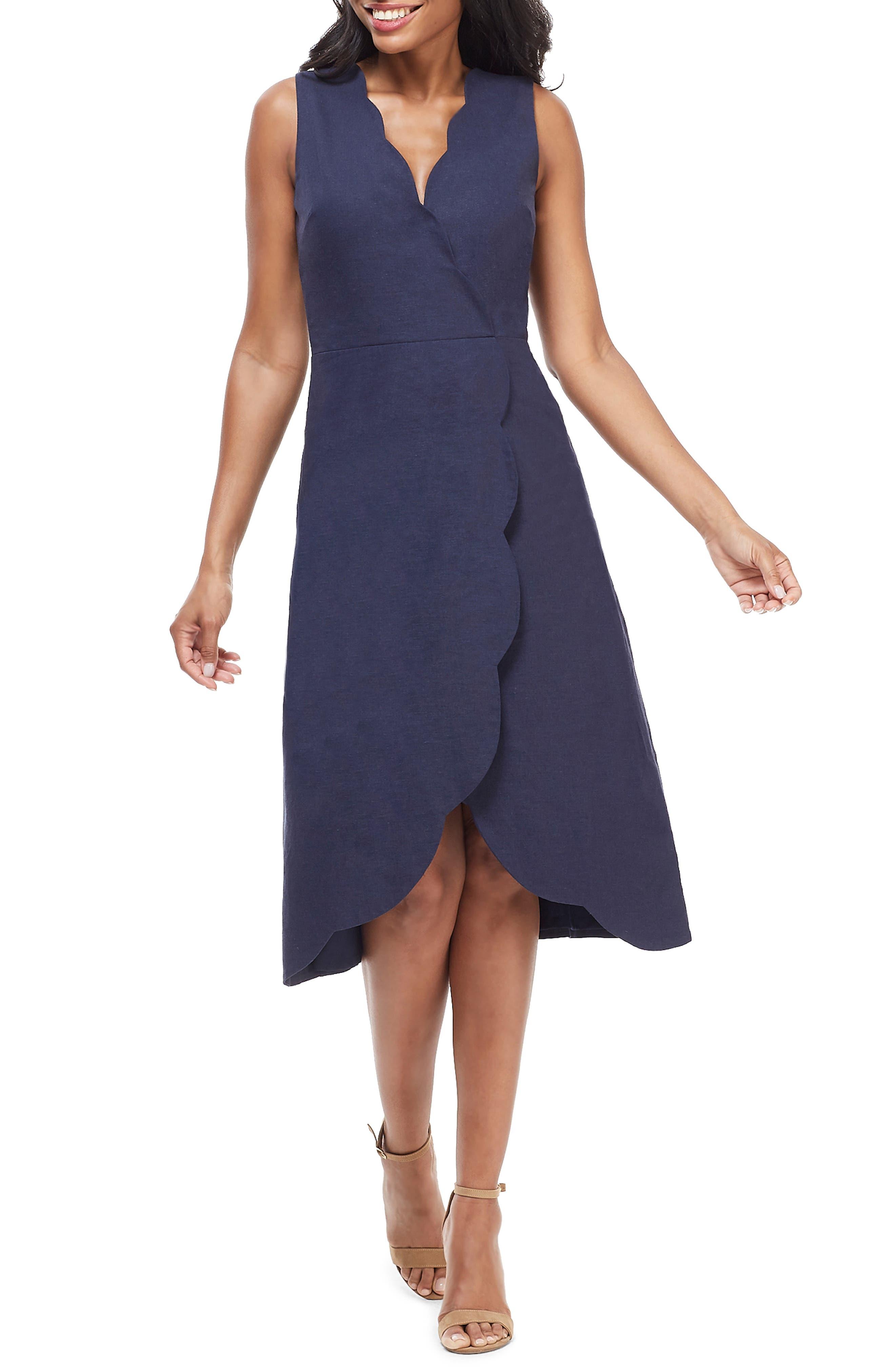 Maggy London Rochelle Linen Blend Midi Dress, Blue