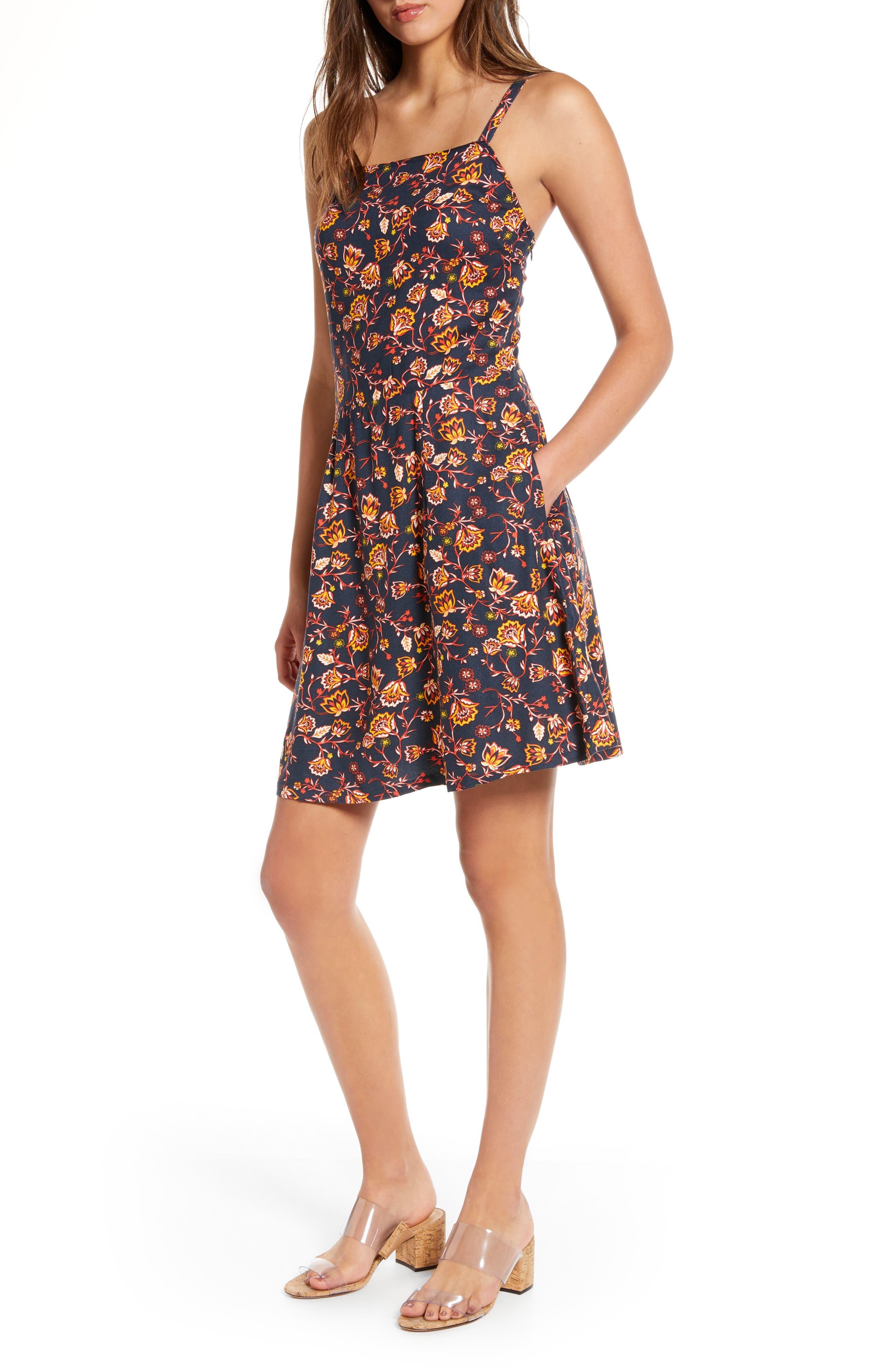 Hinge Sleeveless A-Line Dress, Blue