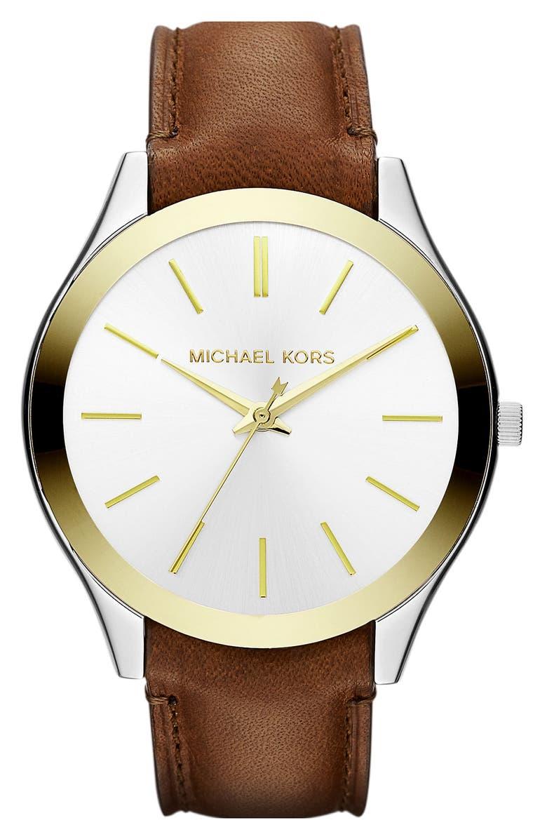 MICHAEL MICHAEL KORS Michael Kors 'Slim Runway' Leather Strap Watch, 42mm, Main, color, 200
