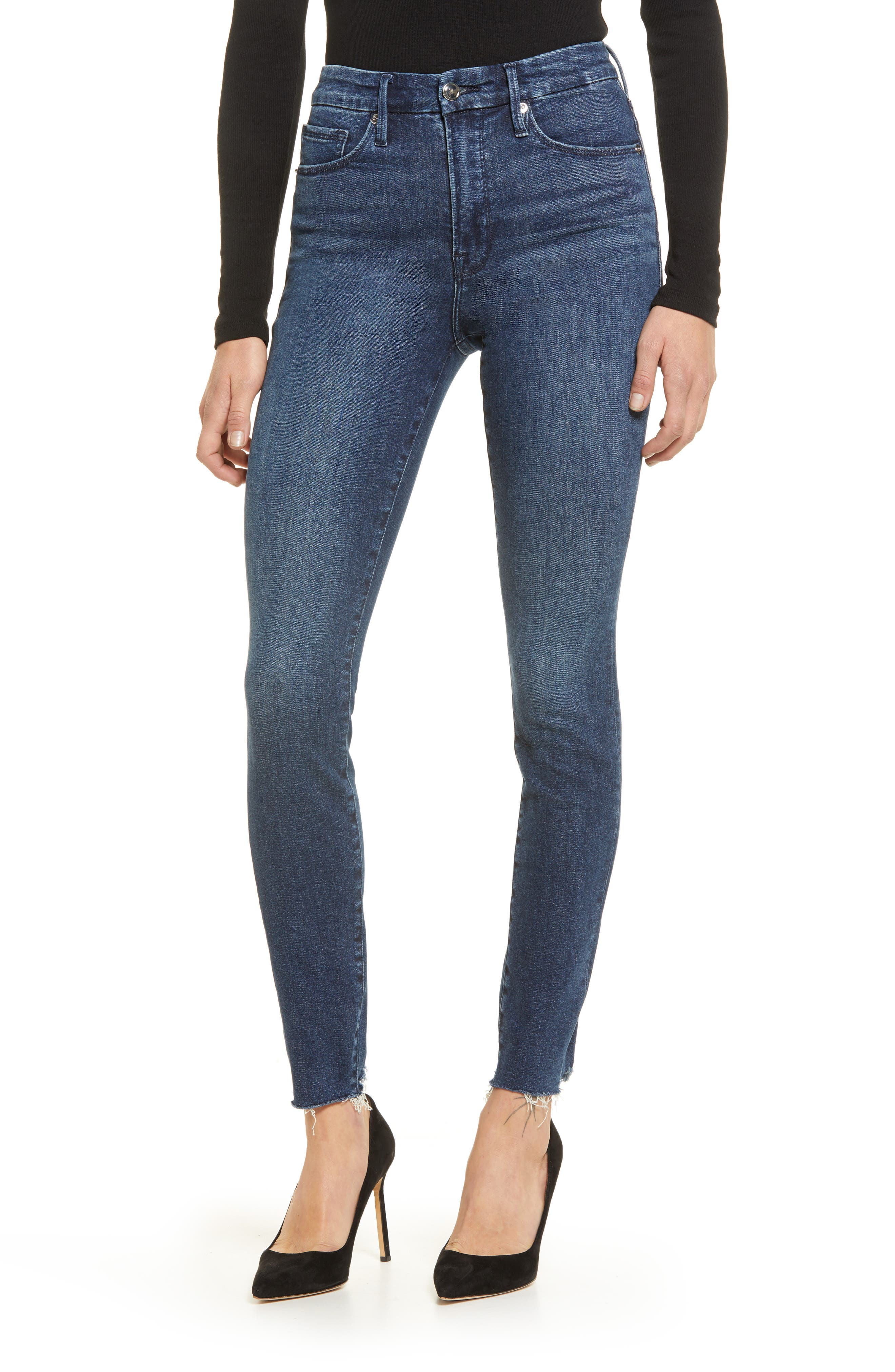 Good Legs Raw Hem Skinny Jeans