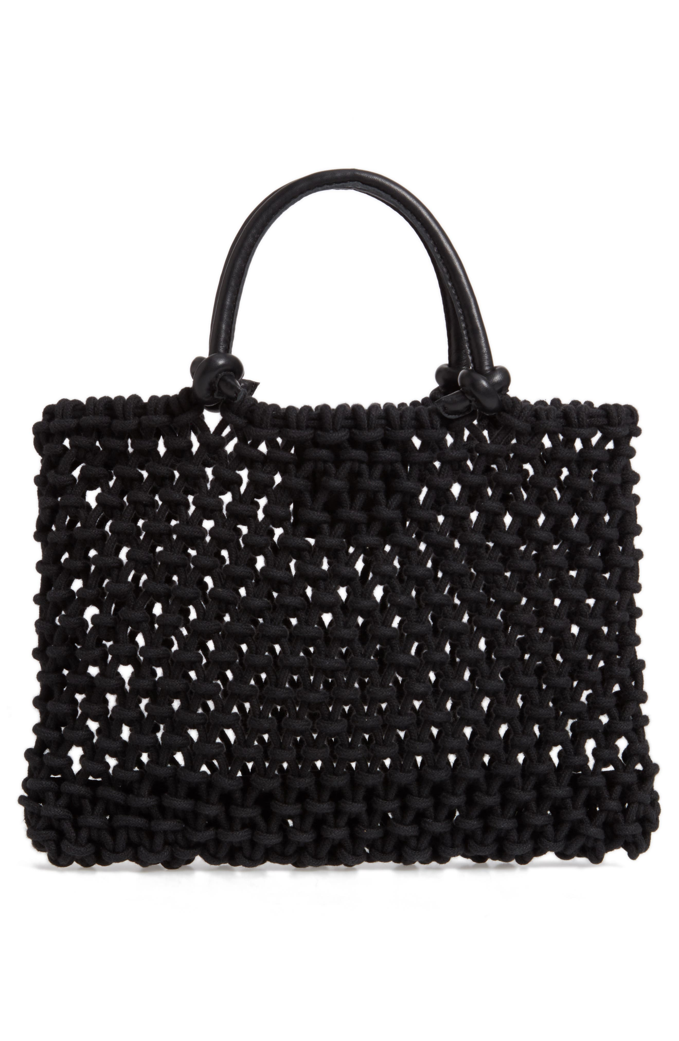 ,                             Petite Sandy Woven Net Handbag,                             Alternate thumbnail 4, color,                             BLACK BLACK