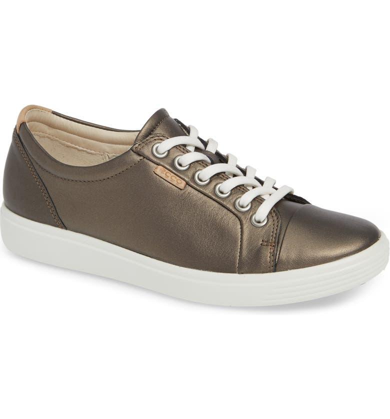ECCO Soft 7 Sneaker, Main, color, BLACK STONE METALLIC LEATHER