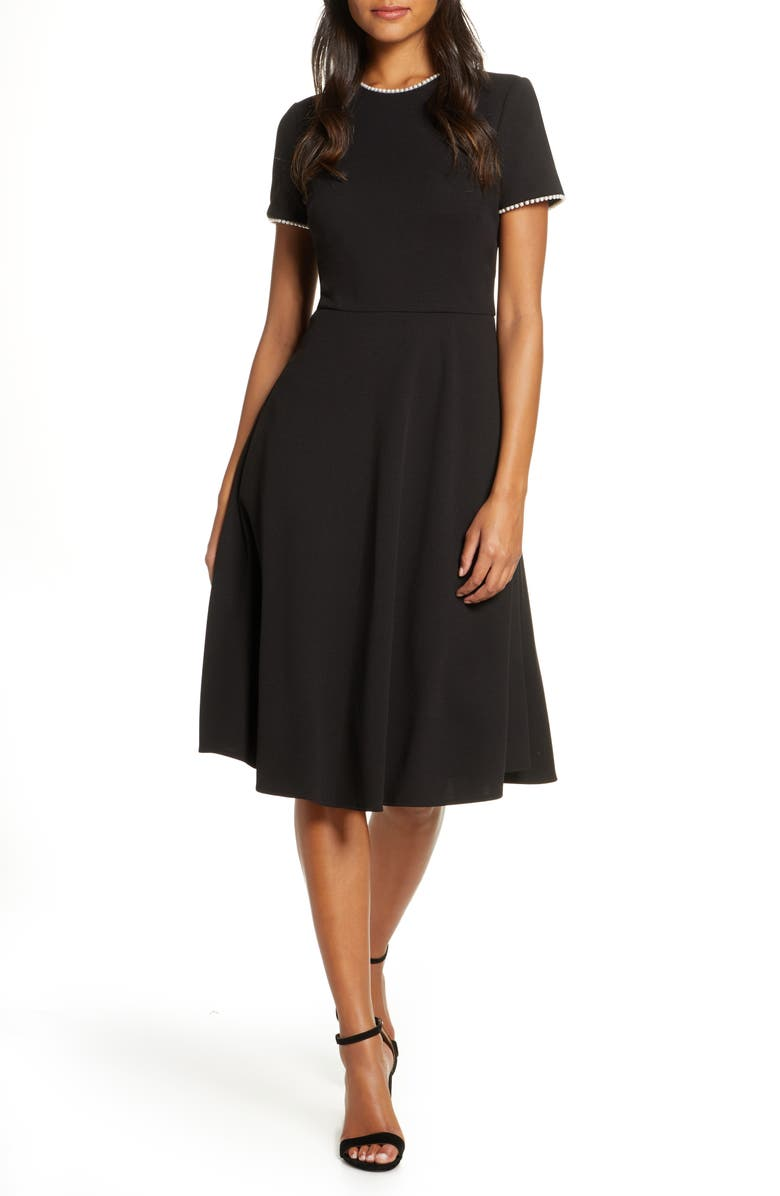 GAL MEETS GLAM COLLECTION Victoria Pearly Trim Fit & Flare Cocktail Dress, Main, color, 001