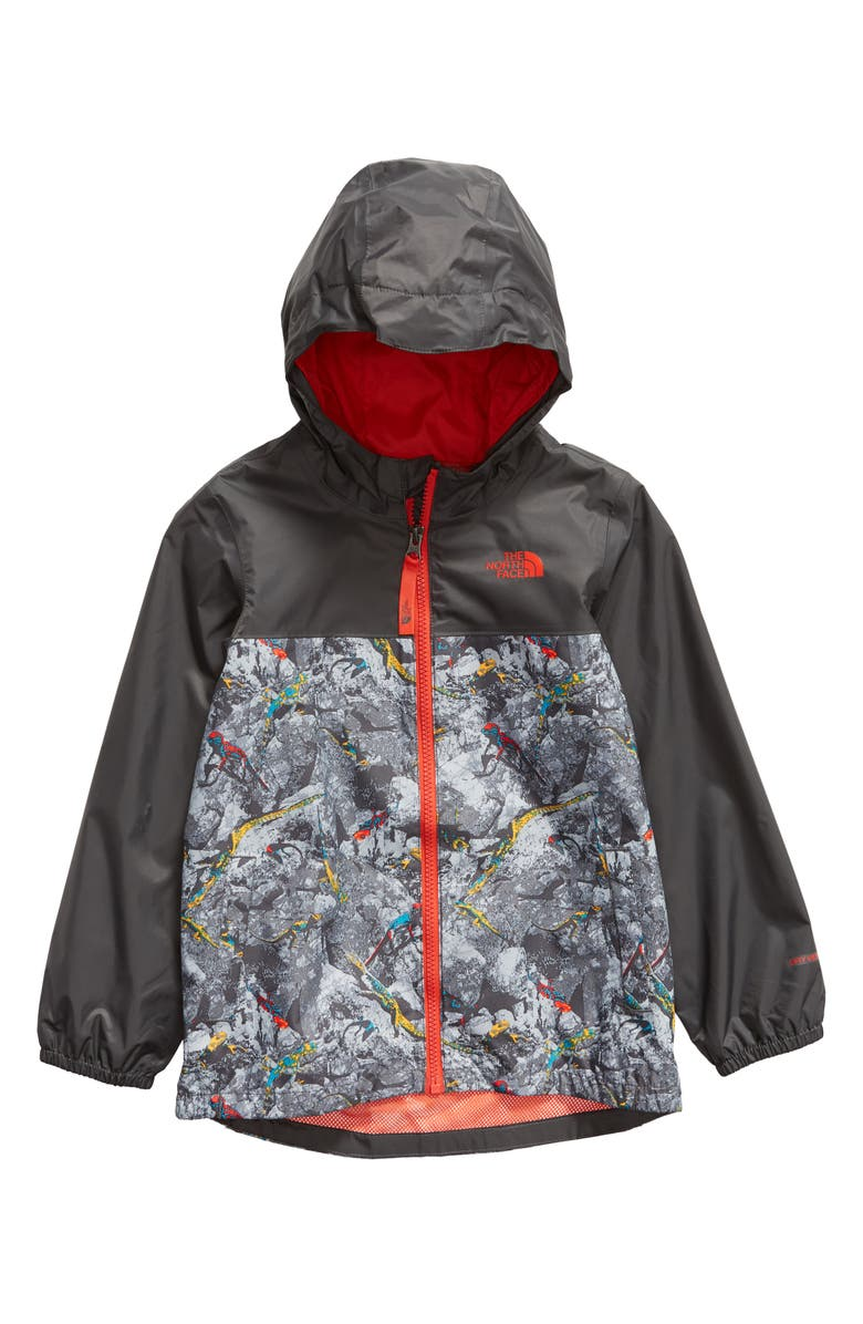 THE NORTH FACE Zipline Hooded Rain Jacket, Main, color, GRAPHITE GREY LIZARD
