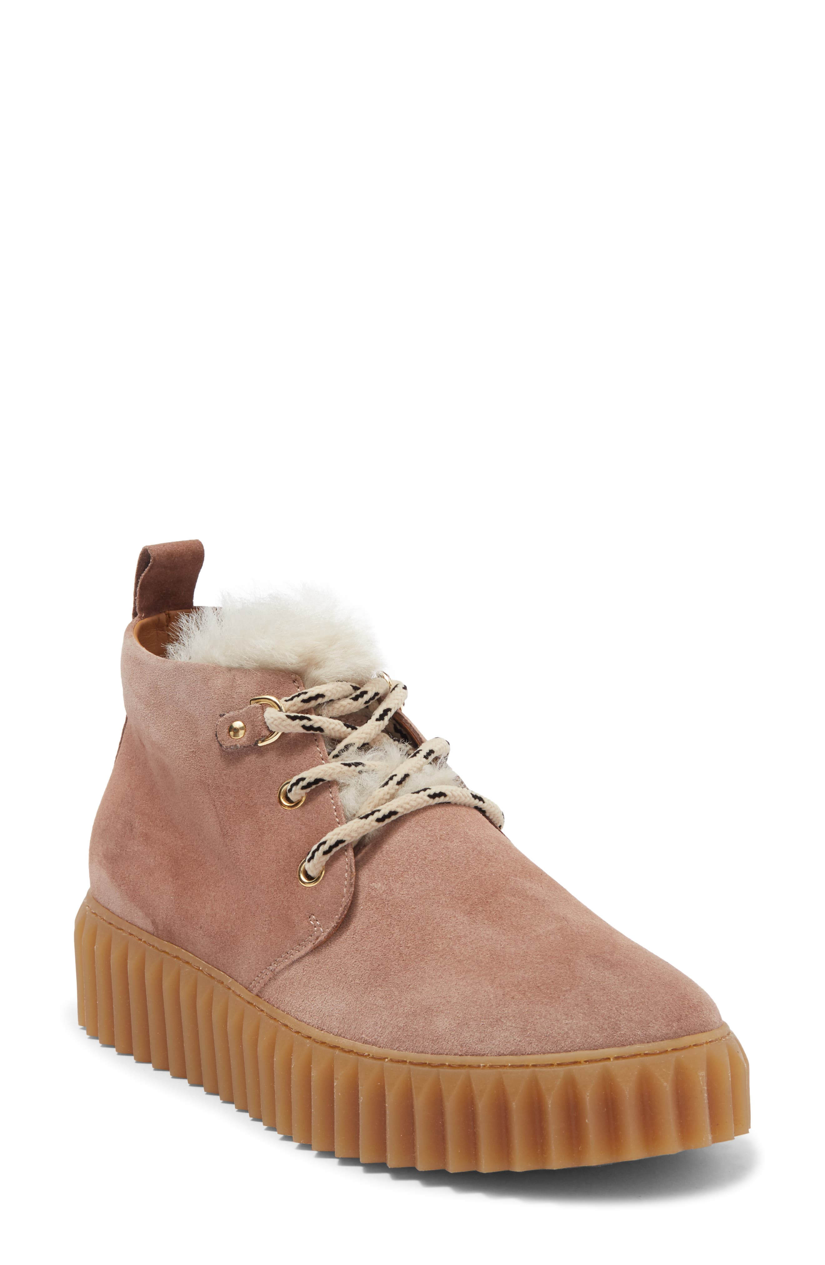 Image of Viola Blanche Egle Faux Fur Trim Platform High Top Sneaker