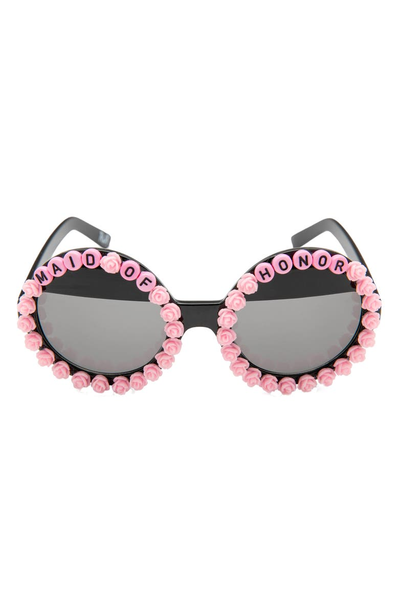 RAD + REFINED Maid of Honor Round Sunglasses, Main, color, PINK/ BLACK
