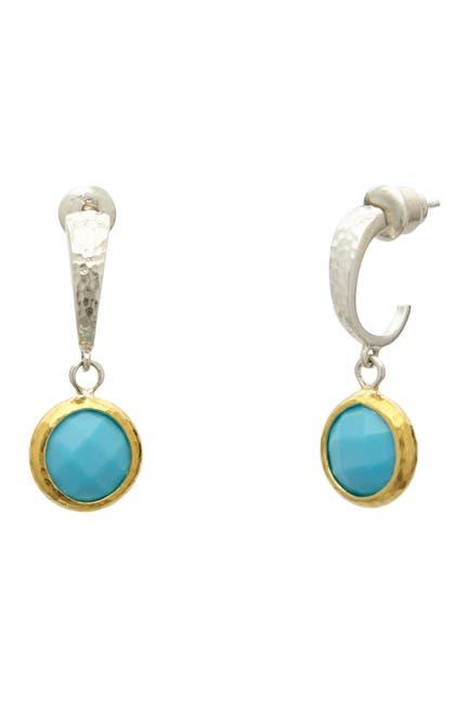 Image of Gurhan 24K Gold Vermeil Checkerboard Cut Turquoise Huggie Earrings