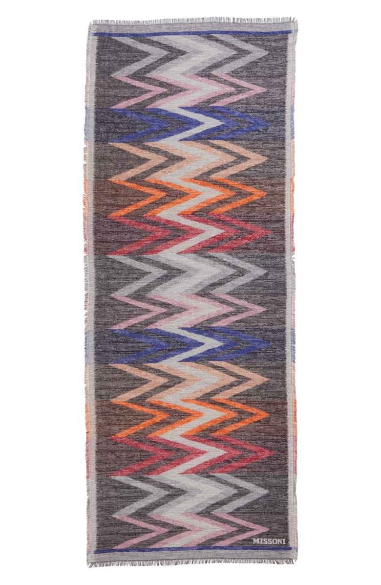 MISSONI Zigzag Print Scarf, Main, color, GREY/ PINK MULTI