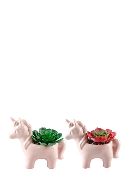 Image of FLORA BUNDA Pink Ceramic Unicorn Succulent Planter - Set of 2