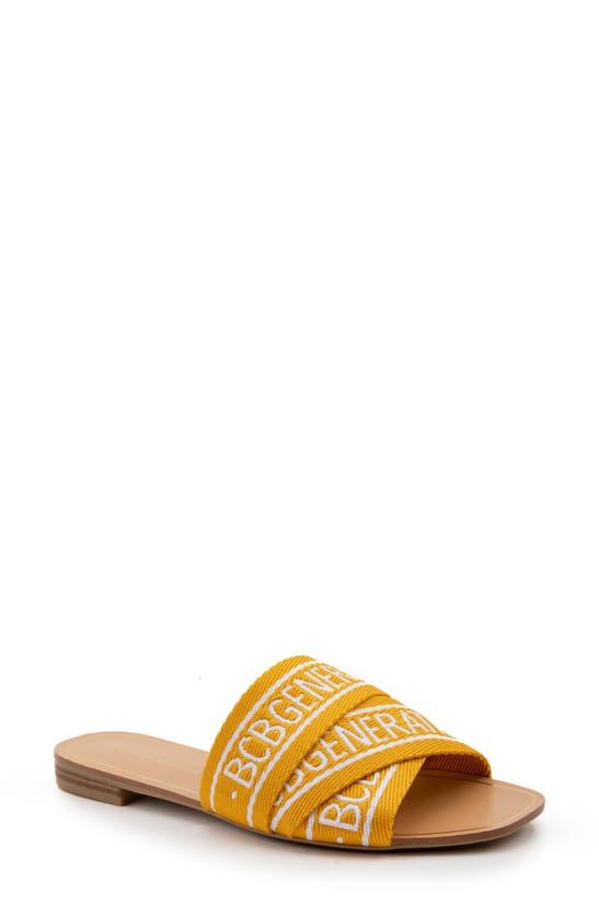 Bcbgeneration Kala Slide Sandal In Golden Yellow / Bright White