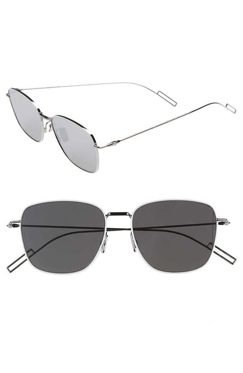 DIOR 'Composit 1.1S' 54mm Metal Sunglasses, Main, color, PALLADIUM/ GREY SILVER MIRROR