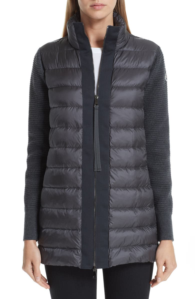 MONCLER Quilted Down & Knit Cardigan, Main, color, 030