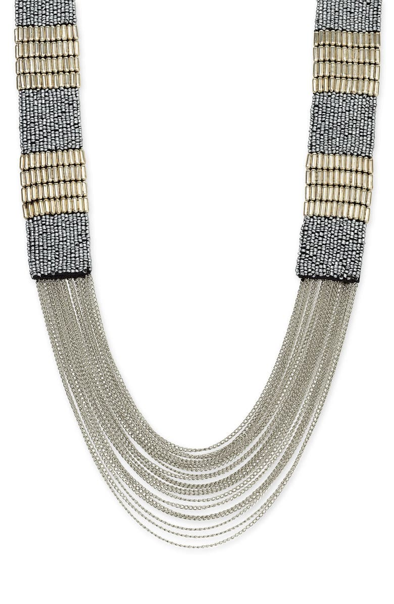CARA Accessories Bead & Chain Necklace, Main, color, 045