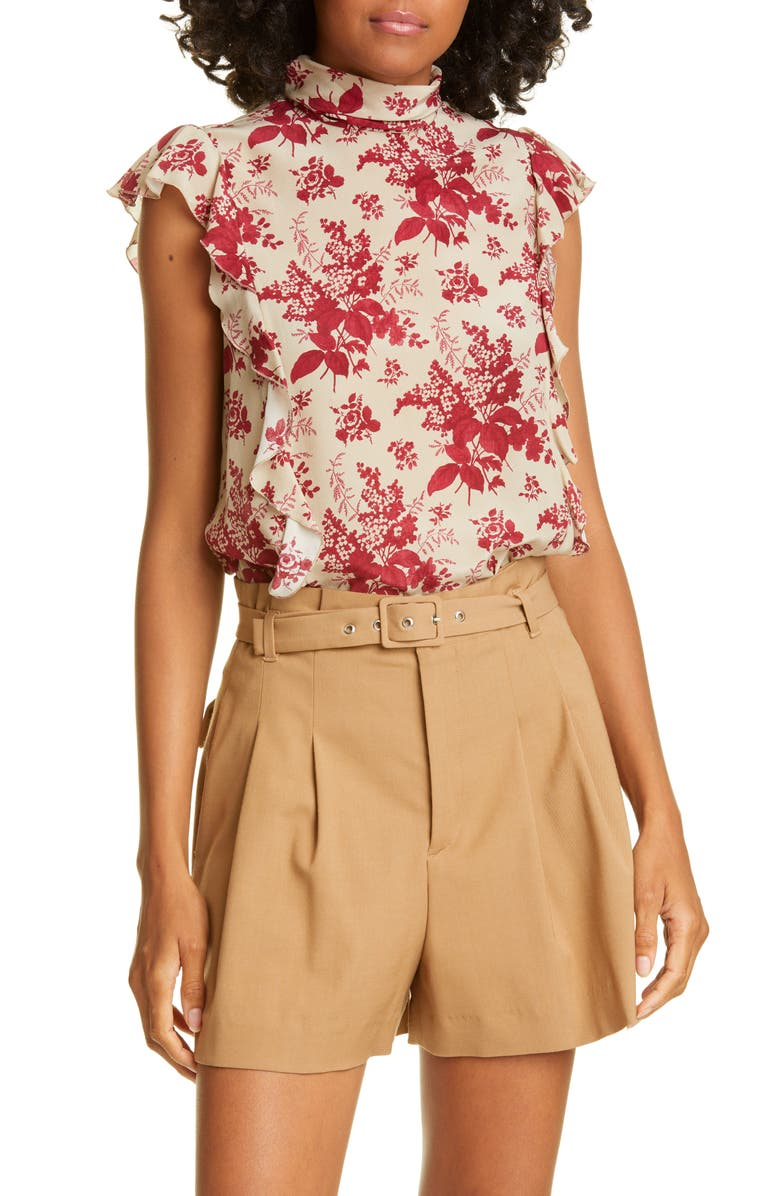 RED VALENTINO Floral Ruffle Trim Silk Top, Main, color, IVORY