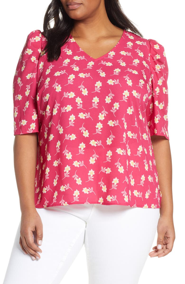 VINCE CAMUTO Floral Puff Shoulder Top, Main, color, WILD HIBISCUS
