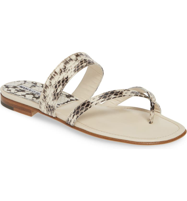 MANOLO BLAHNIK 'Susa' Genuine Snakeskin Sandal, Main, color, 101